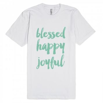 Blessed happy joyful | Fitted T-shirt | SKREENED