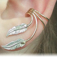 Ear Cuff - Feather -  Sterling Silver and Gold Filled