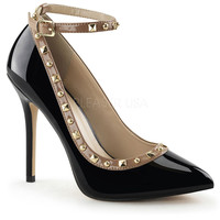 Black & Nude Patent Two Tone Studded Amuse Pumps