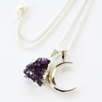 CRESCENT MOON ➳ SILVER PENDANT NECKLACE