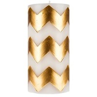 """3"""" x 6"""" White Pillar Candle with Gold Chevron 