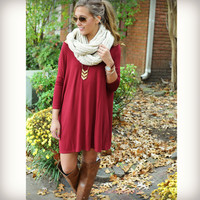 Heaven's Bliss Burgundy Quarter Sleeve Solid Dress