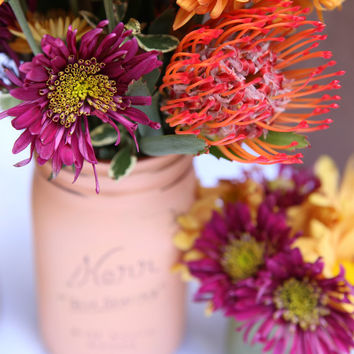 Thanksgiving Centerpiece - Home Decor - Painted Mason Jars - Vase - Fall Colors