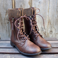 the brown combat sweater boots