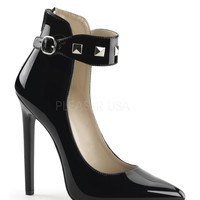 Black Patent Studded Ankle Strap Sexy Heels
