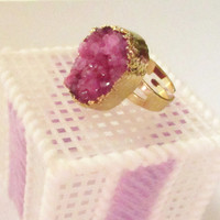 Lilac Gold Druzy Ring, Magenta Crystal Drusy Quartz Ring,  Sparkly Stone Adjustable Gold Dipped Rings, Bohemian Gypsy Chic