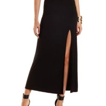 Black Single Slit Maxi Skirt by Charlotte Russe