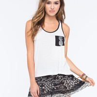 Full Tilt Pineapple Womens Pocket Tank White  In Sizes