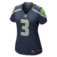 Nike Russell Wilson Jersey Seattle Seahawks Women's NFL Football Home Game, Blue Size XXL