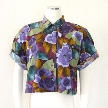 Vintage 80s 90s Oversize Abstract Floral Print Crop Top - Colorful Women's Button Up Baggy Cropped Blouse in Purple Green Gold - Size Small