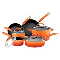 Rachael Ray 10 Piece Porcelain Cookware Set - Orange