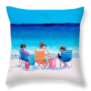 "Beach Painting 'Girl friends' by Jan Matson Throw Pillow 14"" x 14"""