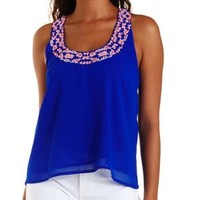 Blue Embroidered Crepe Racerback Tank Top by Charlotte Russe