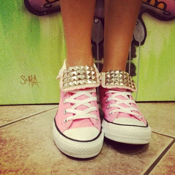 Custom Studded Light Pink Converse All Star High Tops - Chuck Taylors! ALL SIZES & COLORS!!!
