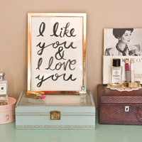Typographic Print  Hand Lettering  I LIKE YOU   by Rachillustrates