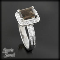 10% Off - Was 2,959.50 - Mocha colored Smoky Quartz and Diamond Ring with knife edge and single halo - LS335