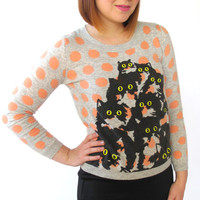 Gray and Peach Polka Dot Crazy Kitty Sweater. S