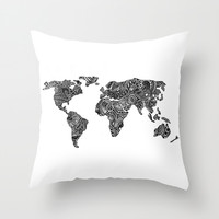 World Throw Pillow by Hugo F G