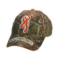 Browning Men's Realtree Camouflage With Orange Buckmark Cap Camouflage One Size