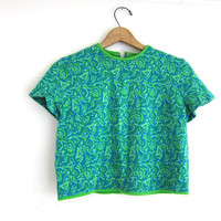 vintage 1960's cropped shirt. green and blue retro top. graphic blouse.