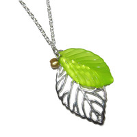 Silver Skeleton Leaf Charm Necklace with Green Glass Leaf and Freshwater Bronze Pearl