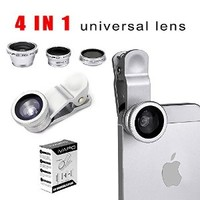 iVAPO Universal phone lens, 4 in 1 Camera Lens Kit for Smart Phones (iPhone 4s 5s 5c, iPhone 6 4.7 inch, iPhone 6 plus 5.5 inch, Samsung Galaxy S5 Note 2 Note 3, Note 4 Sony Z1 Z2 Z3), Samsung Tab , iPad Air 2 iPad Mini 4 3 2, Laptops One Fish Eye Lens One