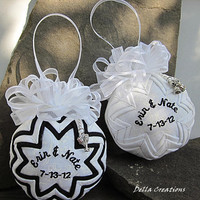 Personalized Wedding Ornament with Pewter Charm