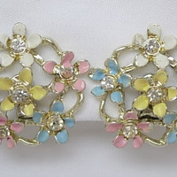 Vintage Pastel Pink Yellow Baby Blue White Enamel on Metal Sparkling Clear Rhinestones Flower Floral Clip On Button Disc Earrings 50s 60s