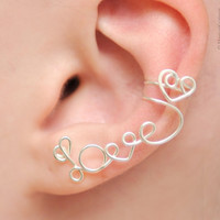 Left Ear Cuff LOVE with a heart silver plated by KOZLOVA on Etsy
