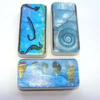 Ocean Thened Domino Magnets Set of 3 Seashells Seahorse And Fish Beautiful Blue