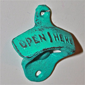 Teal Blue Bottle Opener /Cast Iron /Vintage, Retro Feel /Kitchen, Man-cave, Game Room, Patio, Hangout /Metal Wall Decor