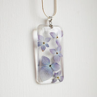Real Flower Necklace Pale Blue 02 Purple Hydrangea Resin Jewelry Transparent Pendant 925 Silver Plated