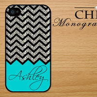Personalized iPhone 4 case iPhone 4s case iPhone 4 cover iPhone 4s cover Monogram Chevron Pattern Gray Turquoise and Black ( NOT GLITTERY)