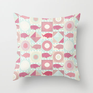 geo whales Throw Pillow by Sharon Turner