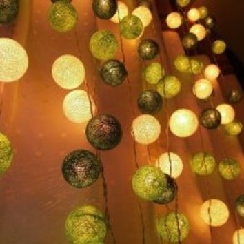 Green Tone Mixed Set 35 of Cotton Balls String Lights Patio Wedding and Home Decorate By I Love Handicraft (35 Balls/set)