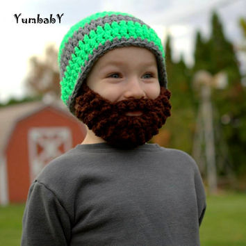 Beard Hat- Grey and Neon Green - All sizes- Bearded Beanie