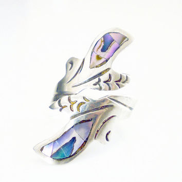 Mexican Sterling Bypass Ring Sterling Silver Mexico 925 Abalone Shell Vintage Jewelry Size 6
