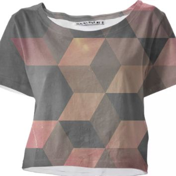Pink & Gray Cubic crop top created by duckyb | Print All Over Me