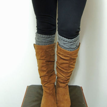 Hand Knitted Grace Cable Boot Cuffs in LIGHT GRAY
