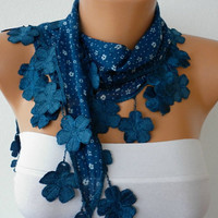 Teal Scarf   Cotton Scarf  Headband Necklace with Lace by fatwoman-245