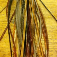NATURAL MIX : 10 Feather Hair Extension . Salon Grade - FREE Silicone Micro Beads