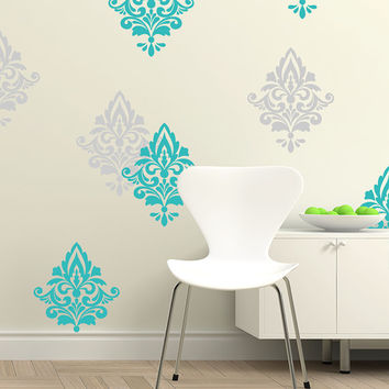 SALE 15% OFF - Wall Damask Pattern Vinyl Decal - Home Decor - ID657