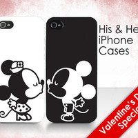 """His & Hers Cases - """"Mickey and Minnie Kissing"""" - 2 iPhone Covers"""