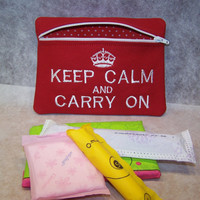 Keep Calm and Carry On  Tampon and Maxi Pad Holder  Zippered Fabric Purse Pouch / Tampon Keeper