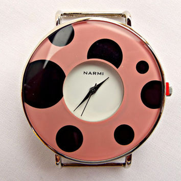 Pink and Black Watch, Round Watch Face, Spotted Watch Face, 44mm Spotted Face, Pink and Black, Large Watch Face, UK Seller, Make Your Own