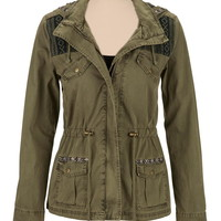 Anorak Jacket With Ethnic Print Accents - Green