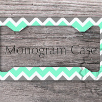 Preppy License Plste Frame - Cute Mint and Gray chevron, personalized car tag frame, front license plate frame