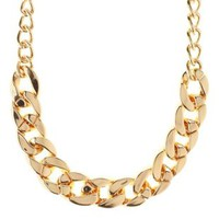 Gold Curb Link Chain Collar Necklace by Charlotte Russe
