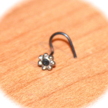 Flower Nose Stud, Flower tragus cartilage Stud Tiny Gold Nose Ring Tiny Red Nose Ring Red Beaded Nose Jewelry