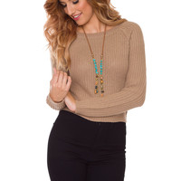 Whisper Sweater Top - Taupe
